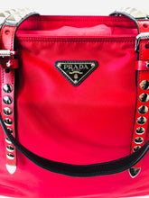 Load image into Gallery viewer, Prada Red Nylon Tote Bag With Leather and Studs