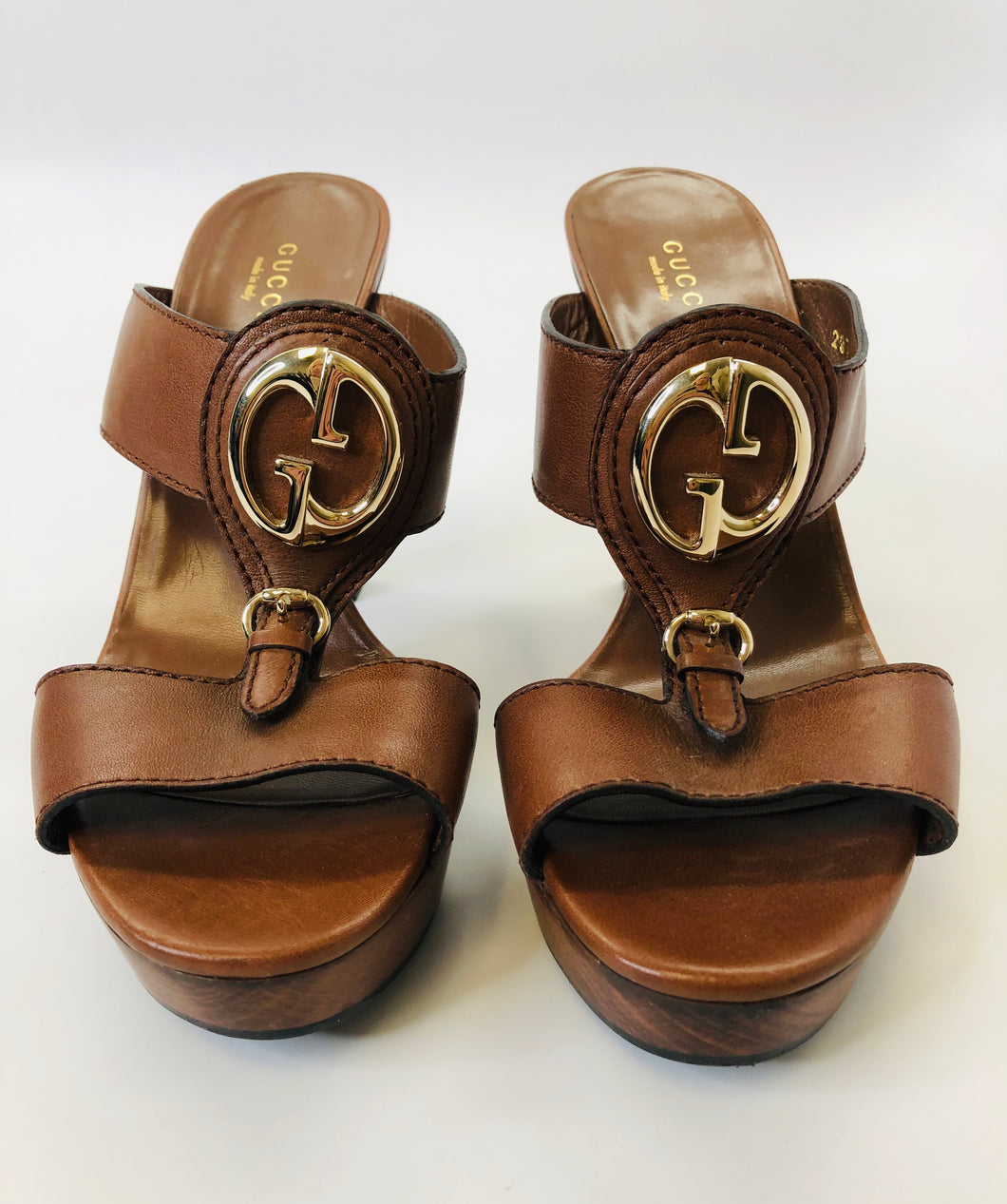 Gucci 1973 Wooden Platform Sandals Size 38 1/2