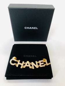CHANEL Gold and Crystal Brooch