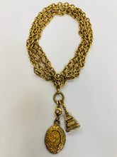 Load image into Gallery viewer, CHANEL Vintage Gold Plated Metal CC Charm Necklace