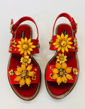 Load image into Gallery viewer, Dolce & Gabbana Floral Embellished Flat Sandals Size 41