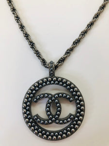 CHANEL Large Grey Pearl Pendant Necklace