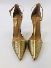 Load image into Gallery viewer, Aquazzura Gold Ankle Wrap Pumps size 39 1/2