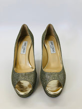 Load image into Gallery viewer, Jimmy Choo Gold Peep Toe Pumps Size 38