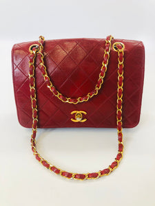 CHANEL Red Leather Vintage Flapbag