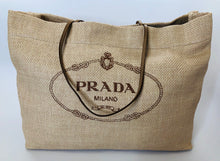 Load image into Gallery viewer, Prada Beige Raffia and Leather Tote Bag