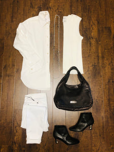 CHANEL White Sleeveless Sweater With CC Buttons Size 48