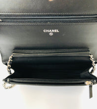 Load image into Gallery viewer, CHANEL Black Diamond Stitched Lambskin Wallet On Chain