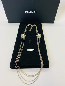 CHANEL Multi Chain Strand Pearl and Crystal CC Necklace