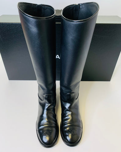 CHANEL Black Leather Tall Boots Size 38