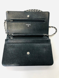 CHANEL Black Caviar Leather Wallet On A Chain