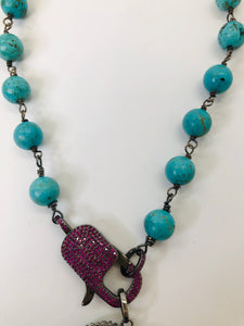 Rainey Elizabeth Turquoise and Pink Pave Ruby Short Necklace