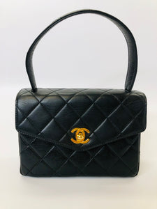 CHANEL Black Quilted Lambskin Mini Kelly Vintage Flap Bag