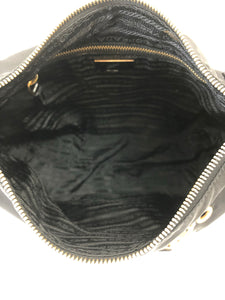 Prada Black Shoulder Bag with Gold Grommets