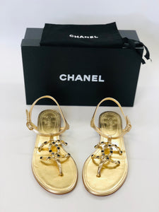 CHANEL Gold Flat Sandals Size 38
