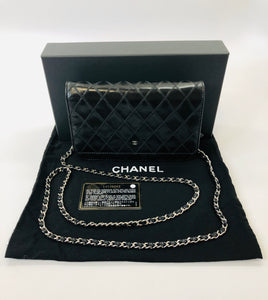 CHANEL Black Diamond Stitched Lambskin Wallet On Chain