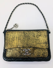 Load image into Gallery viewer, CHANEL Gold and Black Crackled Leather Pochette With Silver Hardware