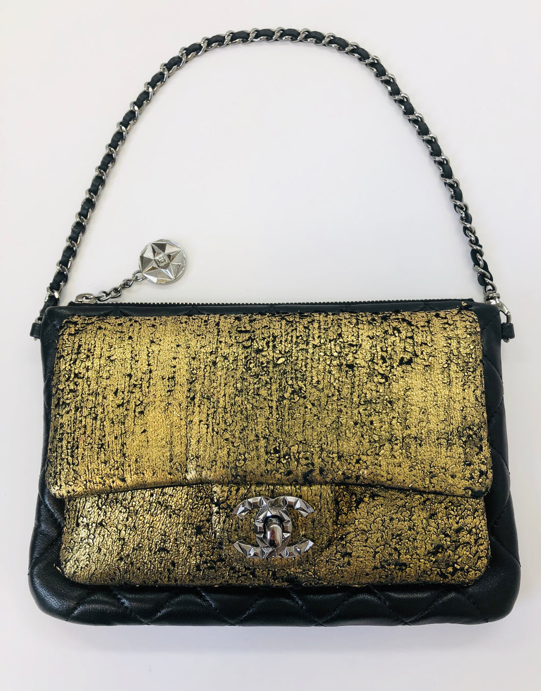CHANEL Gold and Black Crackled Leather Pochette With Silver Hardware