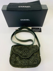 CHANEL Floral Eyelet Messenger Bag