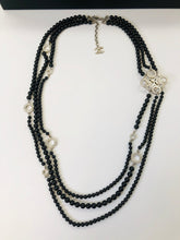 Load image into Gallery viewer, CHANEL Three Strand Black Pearls and Crystal Necklace