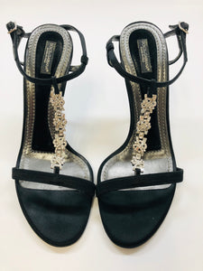Dolce and Gabbana Satin and Crystal Sandals Size 37 1/2