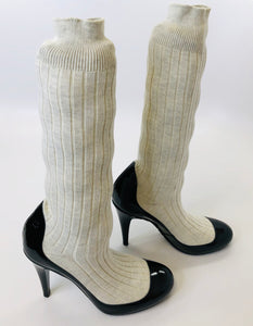 CHANEL Sock Boots Size 40