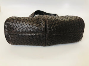 Bottega Veneta Dark Ebano Intrecciato Leather Shoulder Bag