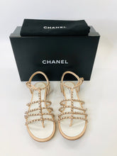 Load image into Gallery viewer, CHANEL Blush Pink and Silver Sandals Size 37 1/2