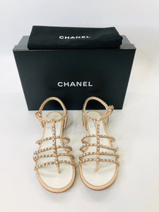 CHANEL Blush Pink and Silver Sandals Size 37 1/2