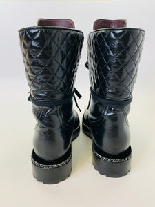 CHANEL Black Leather, Pearl and Silver Chain Combat Boots Size 37 1/2