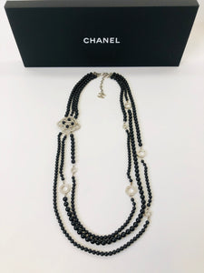 CHANEL Three Strand Black Pearls and Crystal Necklace