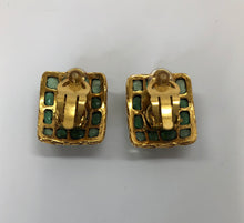 Load image into Gallery viewer, CHANEL Vintage Gripoix and Gold Plated Clip On Earrings