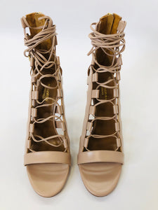 Aquazzura Amazon Nude Leather Sandals Size 39 1/2