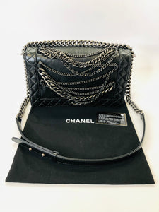 CHANEL Black Medium Chain Boy Bag