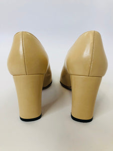 CHANEL Camel and Brown CC Toe Pumps Size 35 1/2