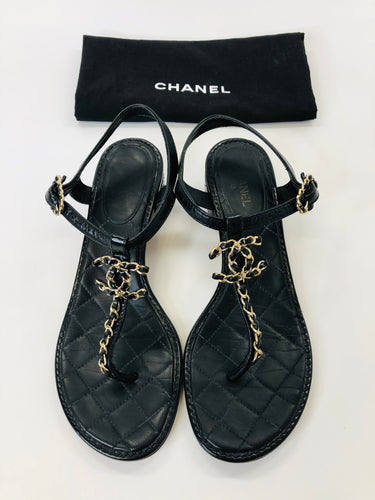 CHANEL Thong Sandals Size 38 1/2