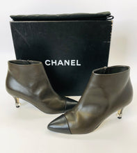 Load image into Gallery viewer, CHANEL Brown and Black Booties Size 36 1/2