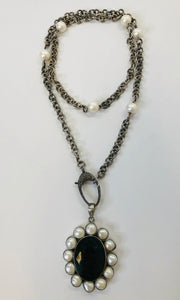 Rainey Elizabeth Chain, Pearl and Pave Diamond Necklace