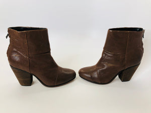 Rag & Bone Distressed Brown Leather Booties Size 38 1/2