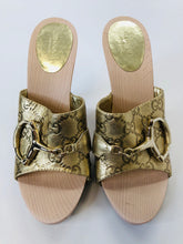Load image into Gallery viewer, Gucci Gold Wooden Icon Bit Clogs Size 37 1/2
