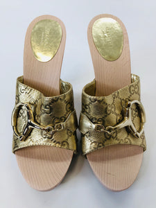 Gucci Gold Wooden Icon Bit Clogs Size 37 1/2