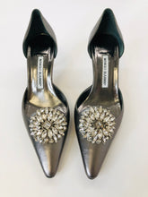 Load image into Gallery viewer, Manolo Blahnik Gunmetal D'orsay Pumps Size 38