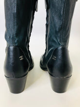 Load image into Gallery viewer, CHANEL Black Lambskin Over The Knee Boots Size 37