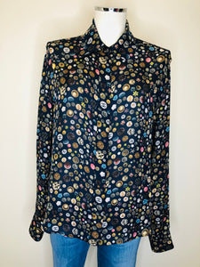 CHANEL Navy Blue Print Blouse Size 42
