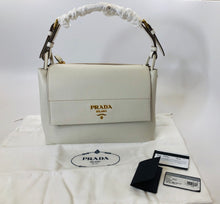 Load image into Gallery viewer, Prada Ivory Leather Pattina Flap Bag