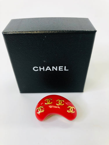CHANEL Vintage Red Resin and Gold Plated Brooch