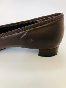 CHANEL Brown Leather Loafers Size 38