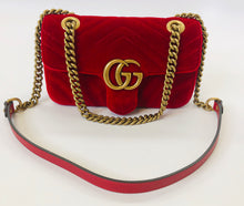 Load image into Gallery viewer, Gucci Red Marmont Mini Flap Bag