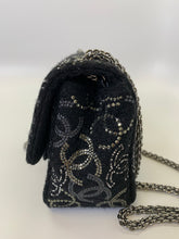 Load image into Gallery viewer, CHANEL Black Tweed and CC Strass Crystals Mini Flapbag