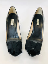 Load image into Gallery viewer, Prada Black Peep Toe Pumps Size 36 1/2